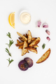 Baked potatoes with rosemary and garlic, served with aioli sauce - PhotoDune Item for Sale