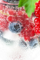 Fresh berries in soda water in a glass close-up on a white backg - PhotoDune Item for Sale