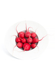 Fresh radishes in a round deep plate on a clean white background - PhotoDune Item for Sale