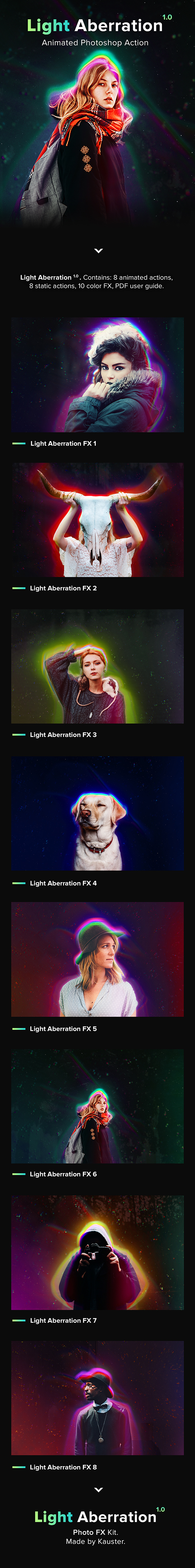 Animated Light Aberration - Photoshop Action - Photo Effects Actions