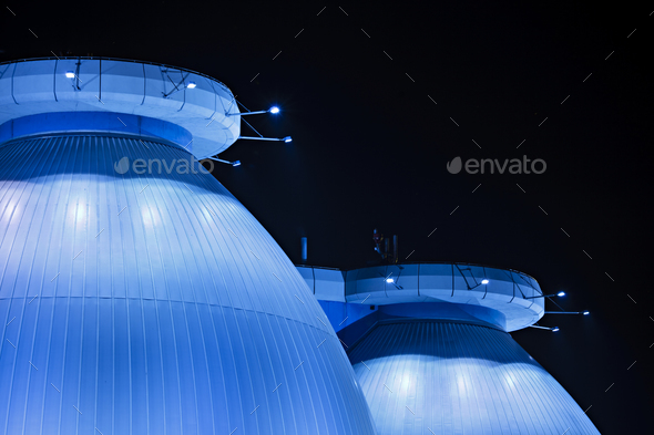 Blue Sewage Plant At Night Detail - Stock Photo - Images
