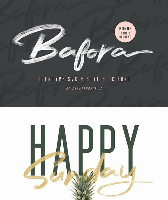Bafora - SVG Font + Bonus - Script Fonts