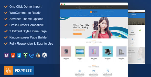 FixPress - Mobile, Cell Phone and Computer Repair WordPress Theme - Technology WordPress
