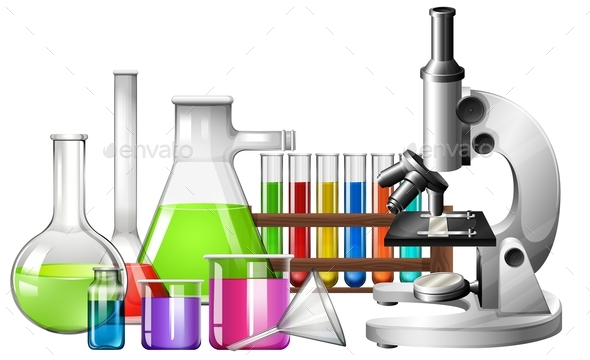 Science Equipment With Microscope And Beakers By