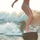Surfing. Girl Wakesurfing in the River and Falls. Water Extreme Sport - VideoHive Item for Sale
