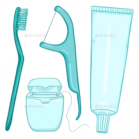Vector Set of Cartoon Tooth Brushing Items - Miscellaneous Vectors