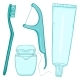 Vector Set of Cartoon Tooth Brushing Items