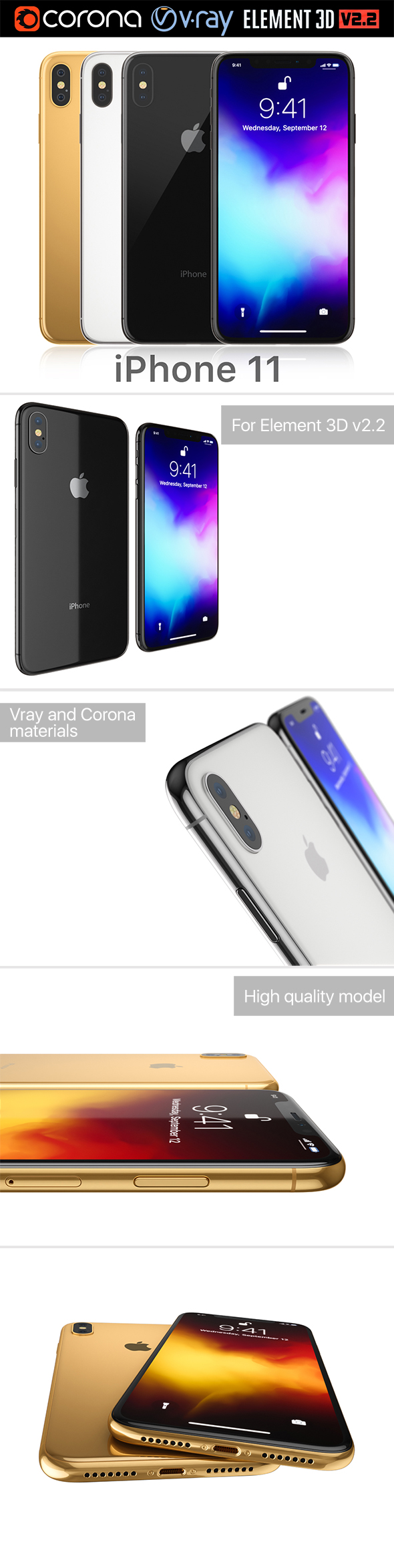 Apple iPhone 11 all colors - 3DOcean Item for Sale