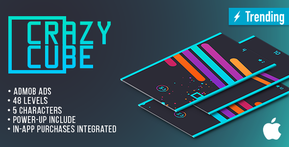 Crazy Cube (IOS) Fun Arcade Game Template + easy to reskine + AdMob - CodeCanyon Item for Sale
