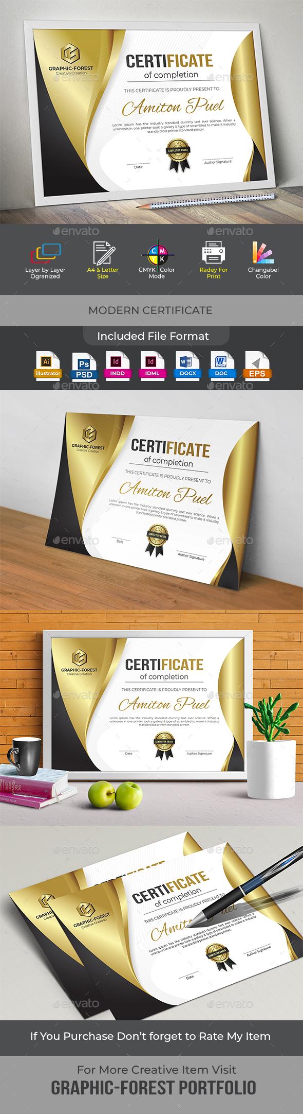 Modern Certificate - Certificates Stationery