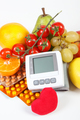 Blood pressure monitor, fruits with vegetables and medical pills, concept of healthy lifestyle - PhotoDune Item for Sale