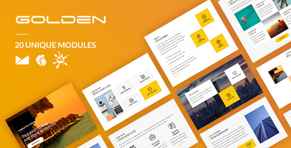 Golden Email-Template + Online Builder