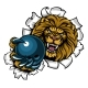 Lion Holding Bowling Ball Breaking Background