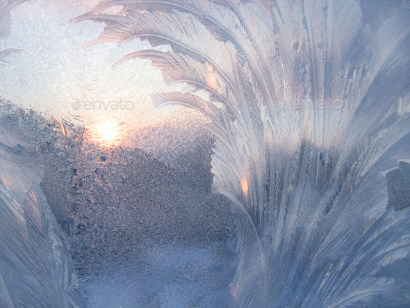 Ice and sun on winter glass - Stock Photo - Images