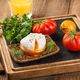Poached egg with fresh tomatoes and orange juice - PhotoDune Item for Sale