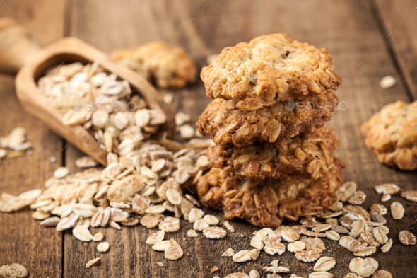 Homemade oatmeal cookies and oat flakes - Stock Photo - Images