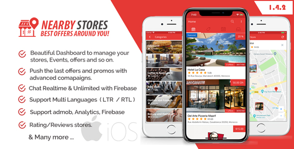NearbyStores iOS - Offers, Events & Chat Realtime + Firebase 1.4            Nulled