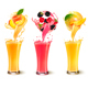 Fruit in Juice Splashes in Glass - GraphicRiver Item for Sale
