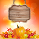 Autumn Background With Fruit Leaves and Wooden Sign - GraphicRiver Item for Sale