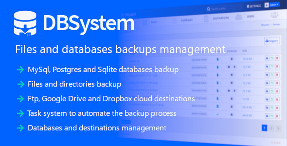 DBSystem - Files and Databases Backups Management - CodeCanyon Item for Sale