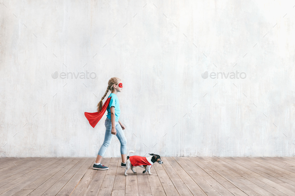 Super girl and a dog Stock Photo by AboutImages   PhotoDune