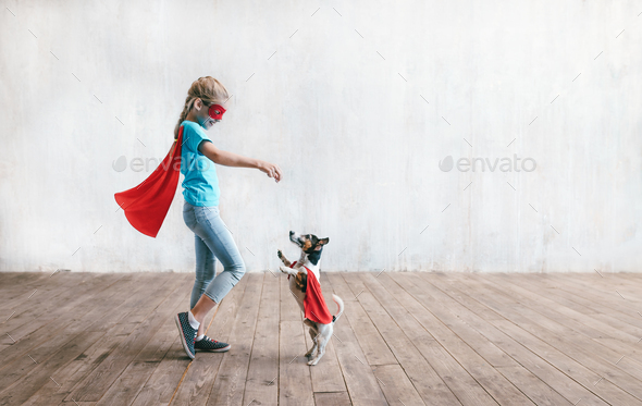 Little super girl with a dog Stock Photo by AboutImages   PhotoDune