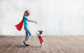 Little super girl with a dog - PhotoDune Item for Sale