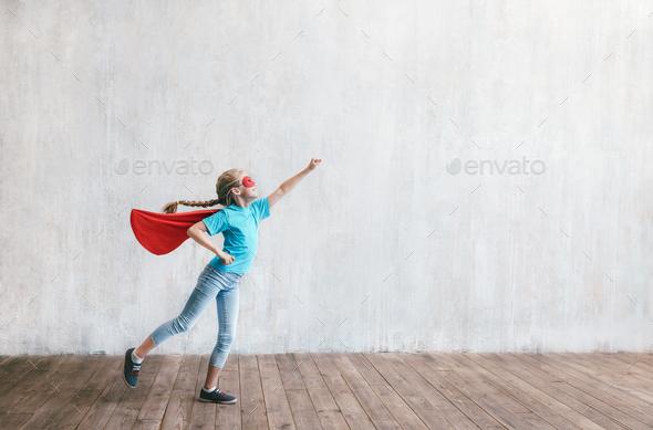 Little hero in studio - Stock Photo - Images