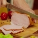 Cutting the Slices of Ham on Board - VideoHive Item for Sale