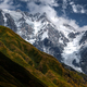 Landscape view of mountains with meadows and glaciers, Country of Georgia - PhotoDune Item for Sale