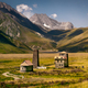 Landscape view of Caucasus mountains and stone houses and tower, Country of Georgia - PhotoDune Item for Sale