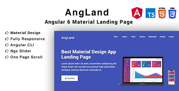 Angland - Material Design Angular App Landing Page