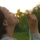 Woman Smells Field Flowers, Face and Dandelions - VideoHive Item for Sale