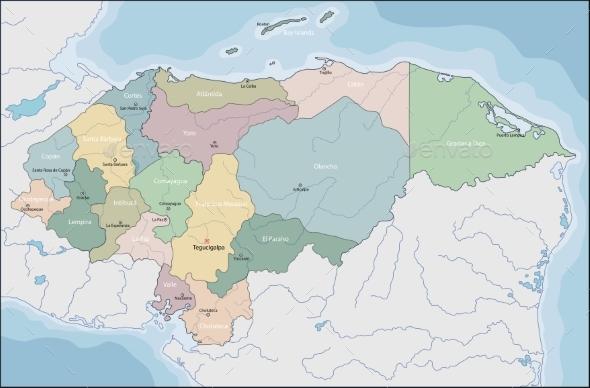 Map of El Honduras - Miscellaneous Vectors
