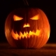 Scary Carved Halloween Pumpkin on Black Flaming Fire Background - VideoHive Item for Sale