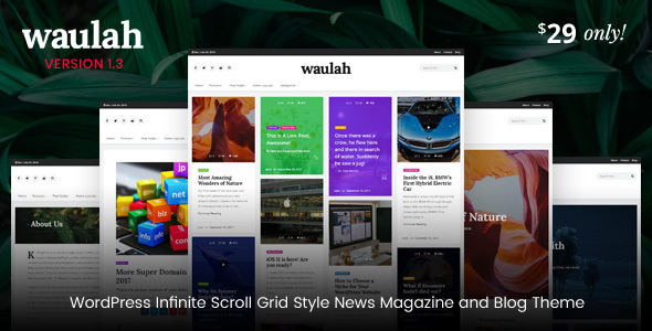 Waulah - Infinite Scroll Grid Style News Magazine and Blog WordPress Theme - Blog / Magazine WordPress