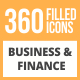 360 Business & Finance Filled Round Icons