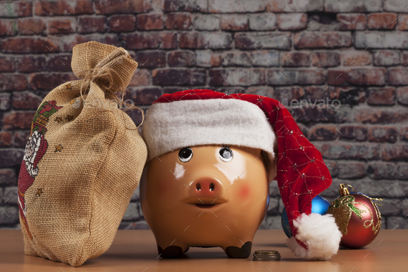 Piggy and Gift Bag - Stock Photo - Images