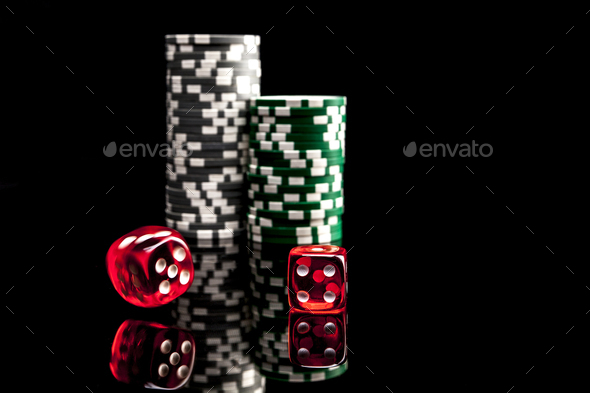 Red Dice and Green Chips - Stock Photo - Images