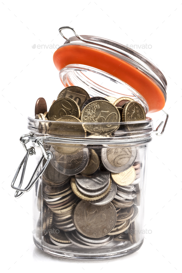 Coins In Jar - Stock Photo - Images