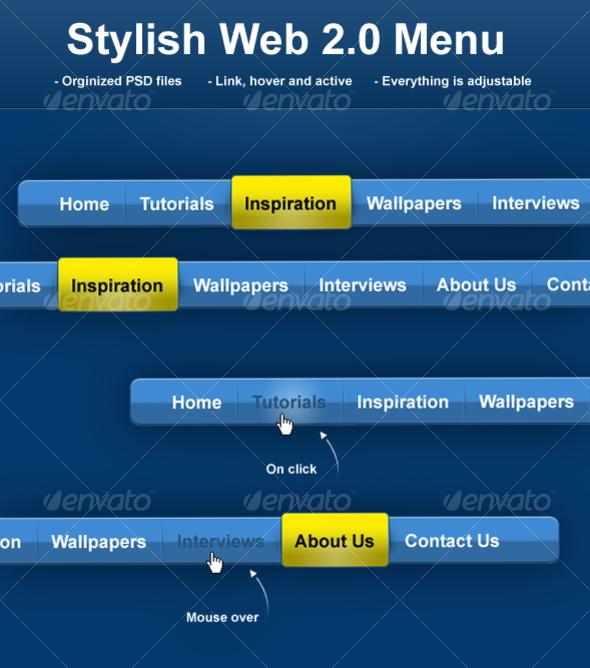 Stylish Web 2.0 Menu - Web Elements