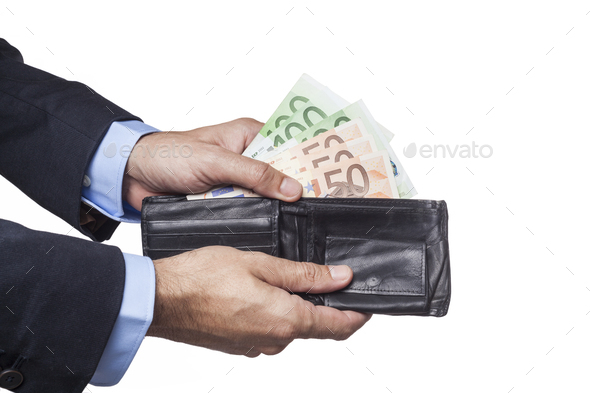 Holding Black Wallet - Stock Photo - Images