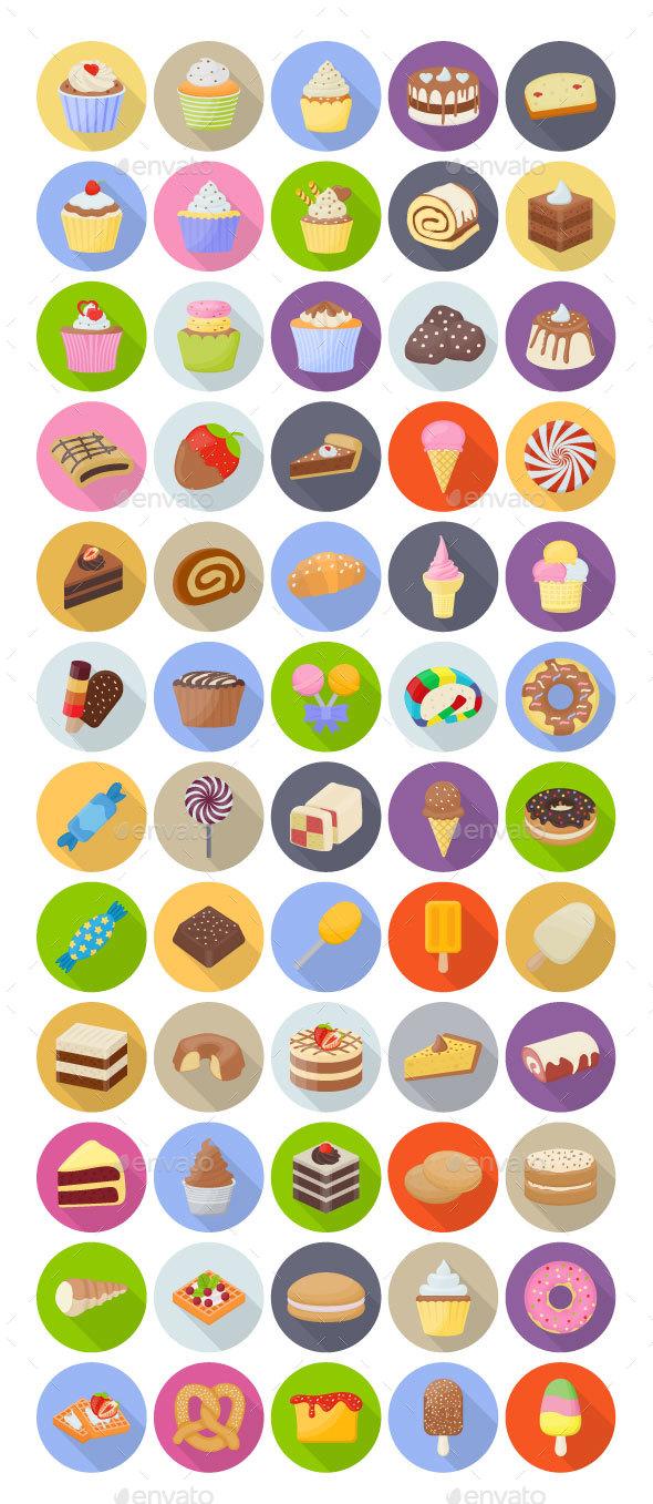 60 Cakes and Desserts Vectors - Vectors