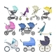 Stroller Vector Baby-stroller and Kids Buggy - GraphicRiver Item for Sale