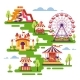 Amusement Park Flat Elements with Carousels - GraphicRiver Item for Sale