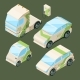 Isometric Electric Cars. Various Eco Cars Isolated