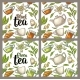 Seamless Pattern Tea with Branch and Leaf