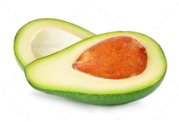 Fresh ripe avocado isolated on white background. - Stock Photo - Images