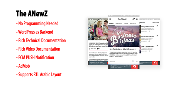 ANewZ   Native Android News App for WordPress Site with AdMob & FCM PUSH Notification            Nulled