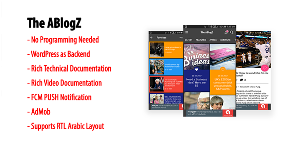 ABlogZ | Native Android Blog or News App for WordPress Site with AdMob & FCM PUSH Notification            Nulled